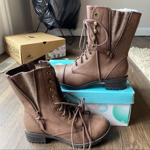 NWT Soda Brown Faux Leather, Short Combat Boots!